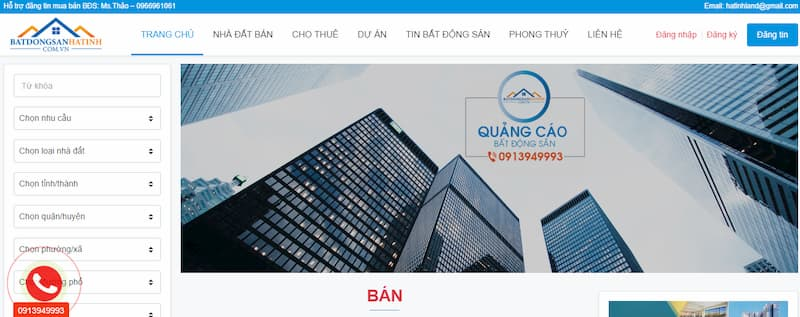 trang chu website batdongsanhatinh.com.vn