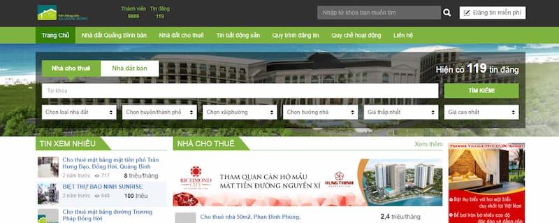 trang chu website bat dong san quang binh